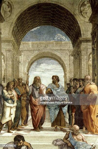 School of Athens Ca 15101512 Detail of a mural by Raphael painted for Pope Julius II in the center Plato discourses with Aristotle Vatican Palace Rome