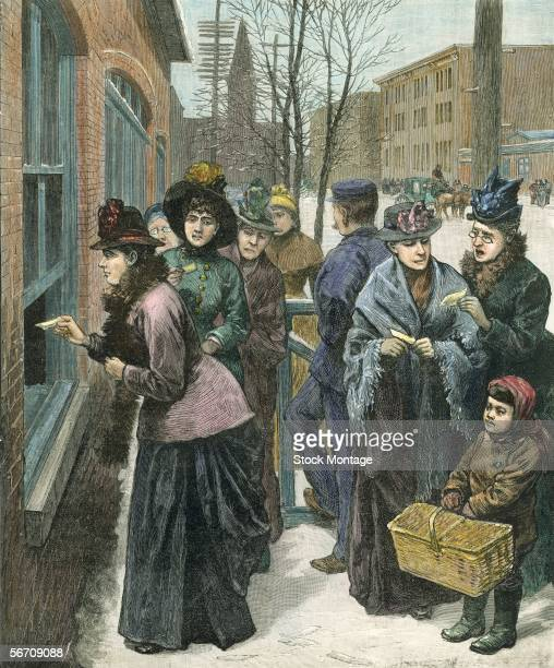 Titled 'Scene at the polls in Cheyenne' this colorized engraving shows a group of women as they line up on the sidewalk to cast their ballots through...