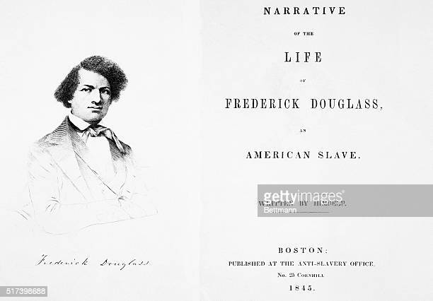 Titlepage and engraved portrait from the narrative of the life of Frederick Douglass, an American slave. Engraving, published 1845.
