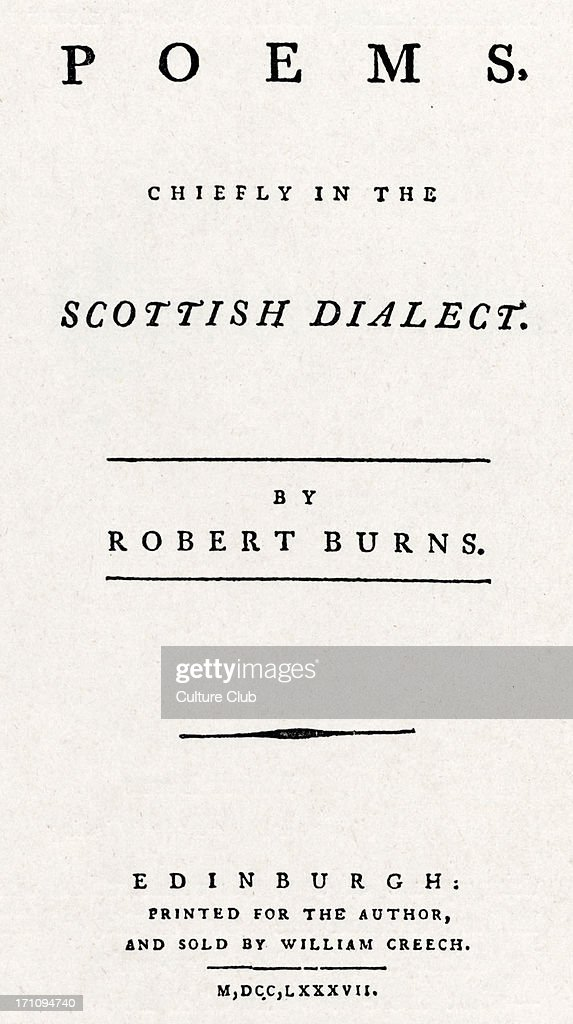 Title Page Of The 1787 Edinburgh Edition Of Robert Burns
