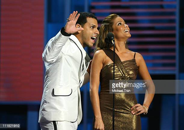 Tito el Bamino and Adriana Fonseca present the award for Best Tejano Album award onstage during the 9th annual Latin GRAMMY awards held at the Toyota...