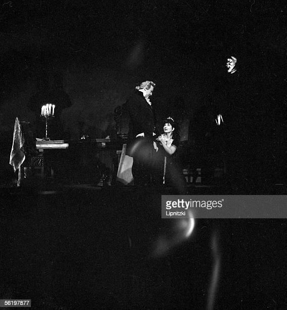 "Tito Gobbi and Maria Callas in the ""Tosca"" of Giacomo Puccini. Opera of Paris, february 1965."