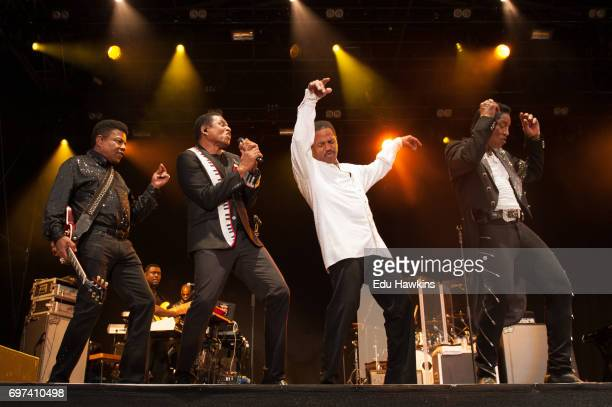Tito Jackie Marlon and Jermaine of the The Jacksons perform live on stage at Blenheim Palace on June 18 2017 in Woodstock England