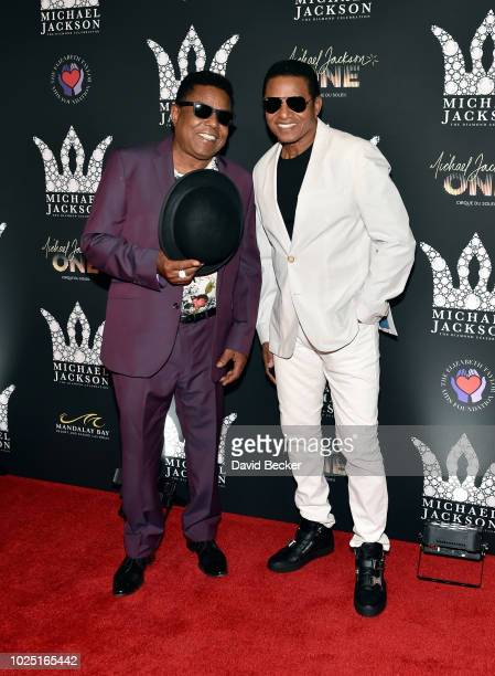 Tito Jackson and Jackie Jackson attend the Michael Jackson diamond birthday celebration at Mandalay Bay Resort and Casino on August 29 2018 in Las...