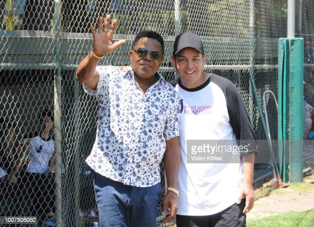Tito Jackson and Taj Jackson attend the Dee Dee Jackson Foundation Celebrity Softball Game in Honor of Joe Jackson on July 29 2018 in Encino...