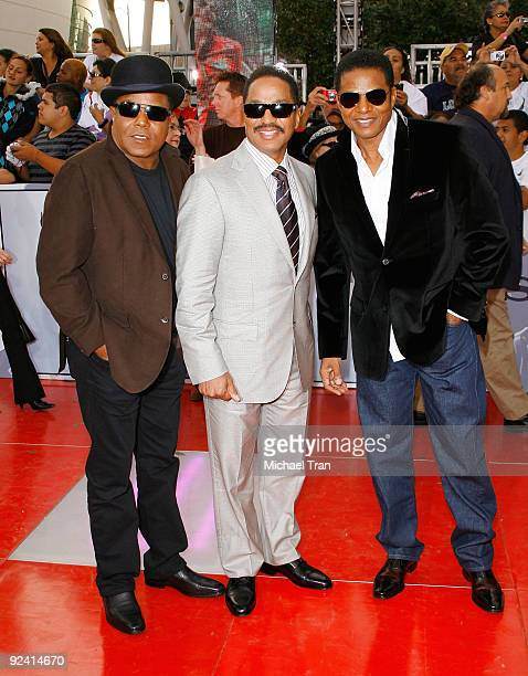 Tito Jackson Jackie Jackson and Marlon Jackson arrive to Michael Jackson's This Is It Los Angeles premiere held at Nokia Theatre LA Live on October...
