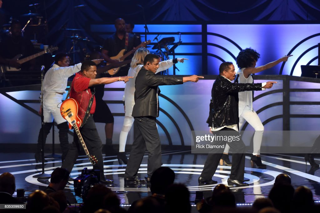 Tito Jackson, Jackie Jackson and Marlon Jackson of The Jacksons perform onstage at the 2017 Black Music Honors at Tennessee Performing Arts Center on August 18, 2017 in Nashville, Tennessee.