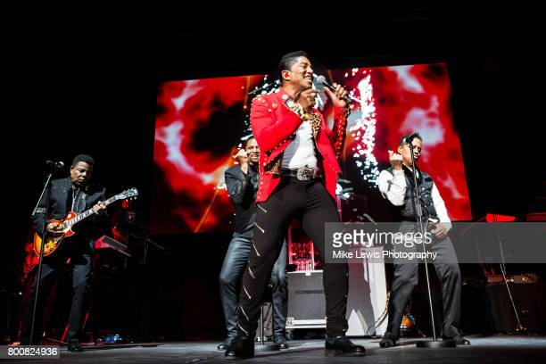 Tito Jackson Jackie Jackson Jermaine Jackson and Marlon Jackson of The Jacksons performs at Motorpoint Arena on June 25 2017 in Cardiff Wales