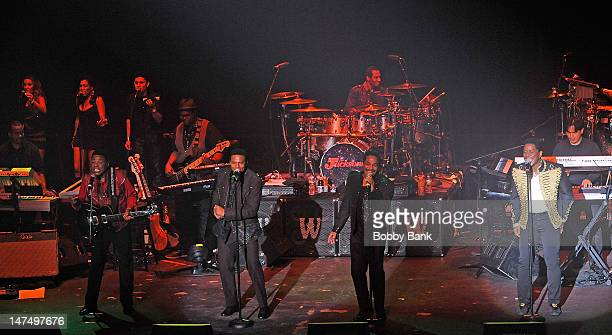 Tito Jackson Jackie Jackson Marlon Jackson and Jermaine Jackson perform at Bergen Performing Arts Center on June 30 2012 in Englewood City