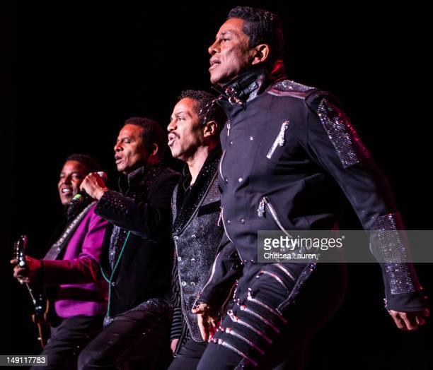 Tito Jackson, Jackie Jackson, Marlon Jackson and Jermaine Jackson perform at The Greek Theatre on July 22, 2012 in Los Angeles, California.