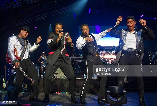 Tito Jackson Jackie Jackson Marlon Jackson and Jermaine Jackson perform at The Henley Festival on July 12 2014 in HenleyonThames England