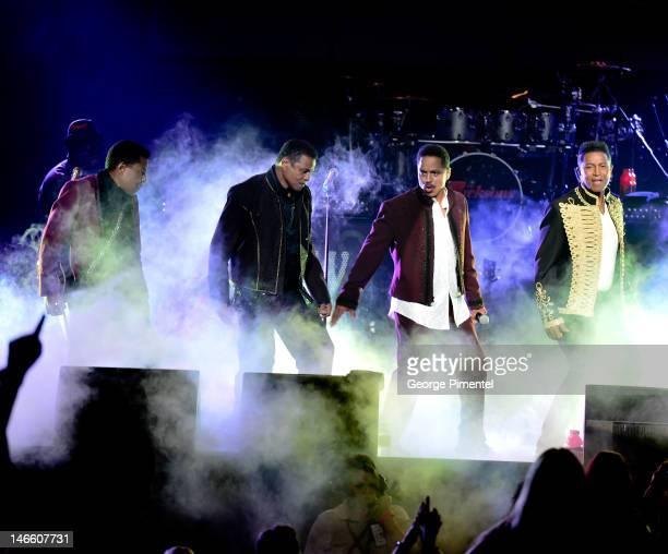 Tito Jackson, Jackie Jackson, Marlon Jackson and Jermaine Jackson of The Jackson Family perform their Unity Tour opener at the Casino Rama on June...
