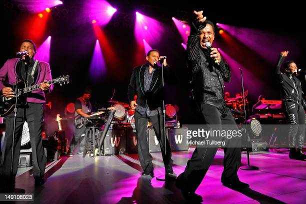 Tito Jackson Jackie Jackson Marlon Jackson and Jermaine Jackson of The Jacksons perform live at The Greek Theatre on July 22 2012 in Los Angeles...