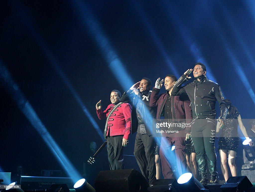 Tito Jackson, Jackie Jackson, Marlon Jackson and Jermaine Jackson of The Jacksons perform at Night Of The Proms at Ahoy on November 23, 2012 in Rotterdam, Netherlands.