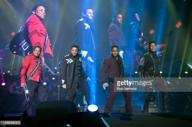 Tito Jackson Jackie Jackson Marlon Jackson and Jermaine Jackson of The Jacksons perform perform on stage at the Night Of The Proms Concert at Ahoy on...