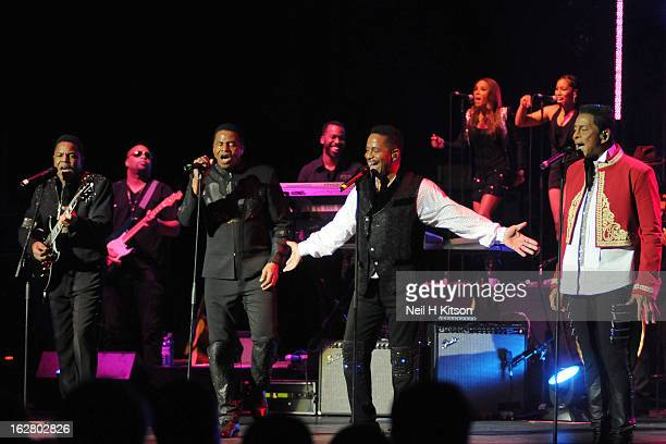 Tito Jackson Jackie Jackson Marlon Jackson and Jermaine Jackson of The Jacksons perform on stage in concert at Manchester Apollo on February 27 2013...