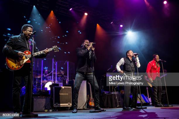 Tito Jackson Jackie Jackson Marlon Jackson and Jermaine Jackson of The Jacksons performs at Motorpoint Arena on June 25 2017 in Cardiff Wales