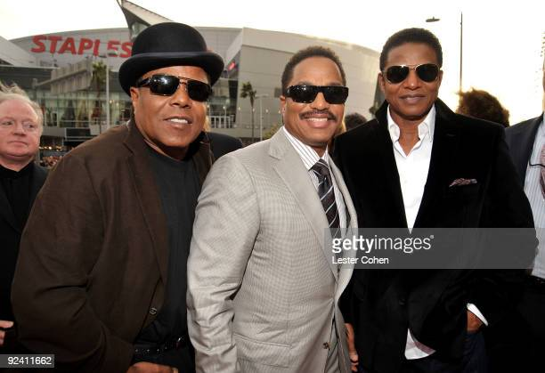 """Tito Jackson, Marlon Jackson and Jackie Jackson arrive at the Los Angeles premiere of """"This Is It"""" at Nokia Theatre L.A. Live on October 27, 2009 in..."""