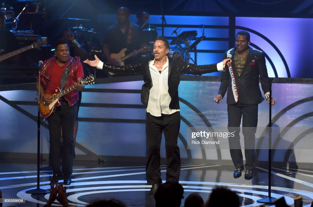 Tito Jackson, Marlon Jackson and Jackie Jackson of The Jacksons perform onstage at the 2017 Black Music Honors at Tennessee Performing Arts Center on August 18, 2017 in Nashville, Tennessee.