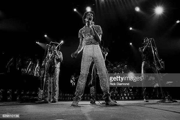 Tito Jackson Marlon Jackson and Michael Jackson perform during The Jacksons Triumph Tour at The Omni Coliseum in Atlanta Georgia July 22 1981