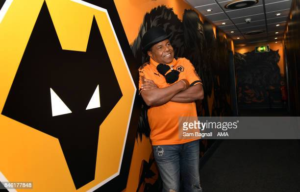 Tito Jackson of the Jackson Five visits Wolverhampton Wanderers during the Sky Bet Championship match between Wolverhampton and Bristol City at...
