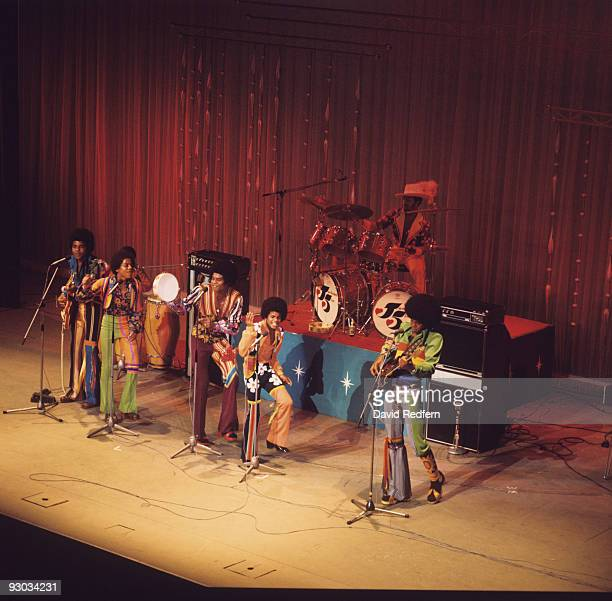 Tito Marlon Jackie Michael and Jermaine Jackson of the Jackson Five perform on stage at the Palladium in London England in November 1972