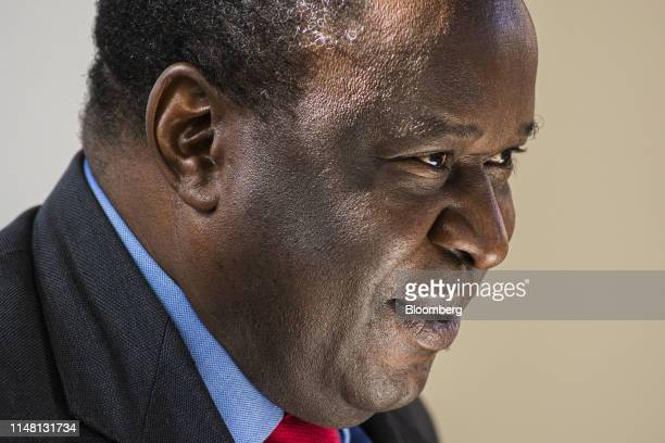 Tito Mboweni, South Africa's finance minister, pauses during an unveiling event for South African rand coin designs commemorating the 25th...