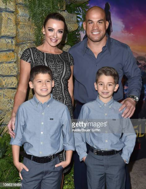 Tito Ortiz Amber Nichole Miller and sons attend the premiere of Netflix's 'Mowgli' at ArcLight Hollywood on November 28 2018 in Hollywood California