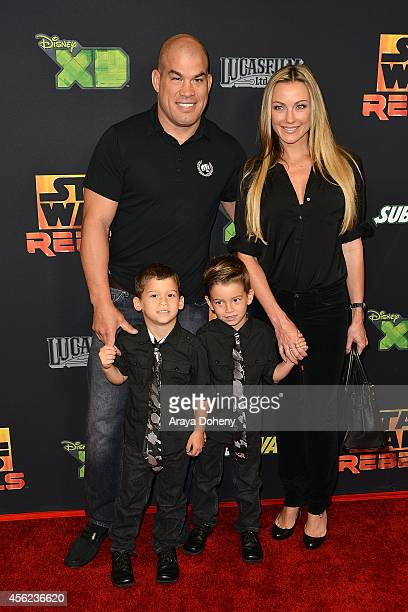 Tito Ortiz and Amber Nichole Miller attend the Disney XD's Star Wars Rebels Spark Of Rebellion Los Angeles special screening at AMC Century City 15...