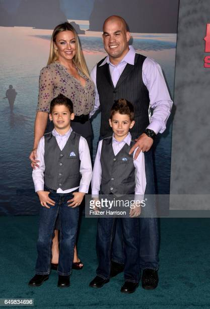 Tito Ortiz and Amber Nichole Miller with family attend the premiere of Warner Bros Pictures' Kong Skull Island at Dolby Theatre on March 8 2017 in...