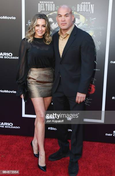 Tito Ortiz and Amber Nicole Miller attend Columbia Pictures' 'Sicario Day Of The Soldado' Premiere at Westwood Regency Theater on June 26 2018 in Los...