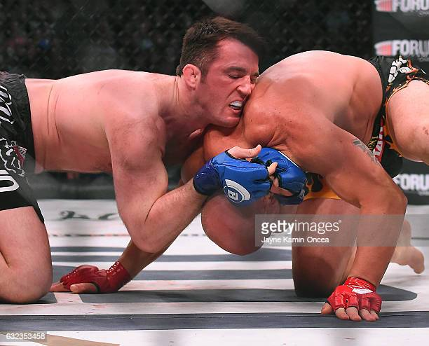 Tito Ortiz and Chael Sonnen during their Bellator MMA light heavyweight fight at The Forum on January 21 2017 in Inglewood California