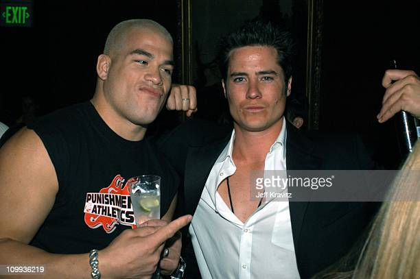 Tito Ortiz and The Bachelor's Andrew Firestone during 2003 MTV Movie Awards Backstage and Audience at The Shrine Auditorium in Los Angeles California...