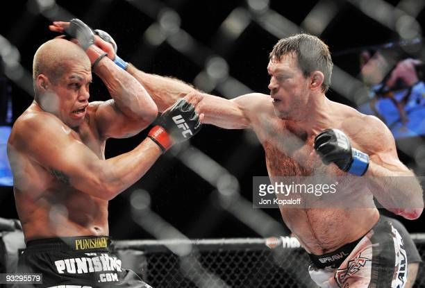 Tito Ortiz battles Forrest Griffin during their Light Heavyweight Fight at the UFC 106 at Mandalay Bay Events Center on November 21, 2009 in Las...