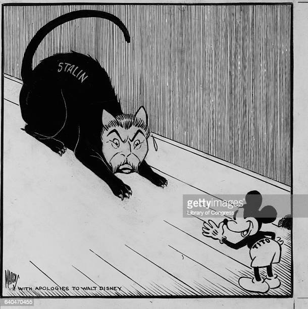 Tito protrayed as Mickey Mouse thumbs his nose at Stalin portrayed as a cat