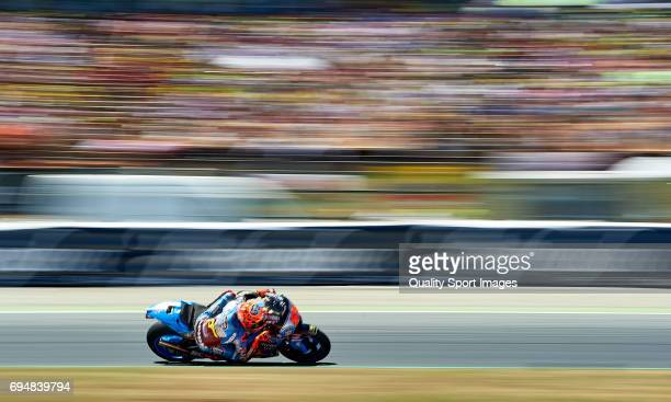 Tito Rabat of Spain and EG 00 Marc VDS rounds the bend during the MotoGp race for the MotoGP of Catalunya at Circuit de Catalunya on June 10 2017 in...