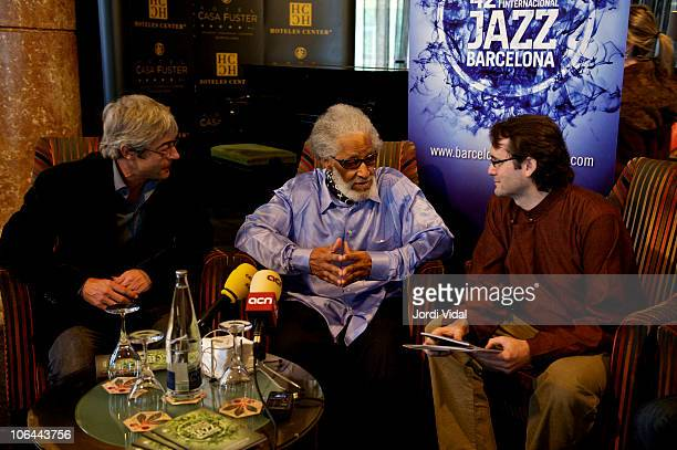 Tito Ramoneda Sonny Rollins and Joan Anton Cararach attend a press conference at Hotel Casa Fuster on November 2 2010 in Barcelona Spain