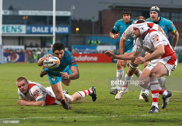 Tito Tebaldi of Aironi goes over for a try during the RaboDirect Pro12 match between Ulster Rugby and Aironi Rugby at Ravenhill on March 30 2012 in...