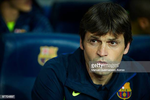 Tito Vilanova assistant coach of FC Barcelona looks on before the La Liga match between Barcelona and Valencia at the Camp Nou Stadium on March 14...