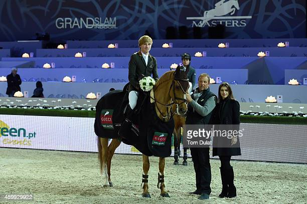 Titouan Schumacher from France riding Quinquet d'Ivraie wins the first Prize at the Feel Green Prize Prestige Trophy pose with Fernanda Ameeuw as...