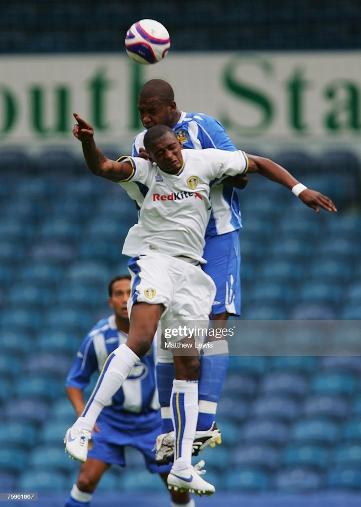 Titus Bramble of Wigan clears the ball from Tresor Kandel of Leeds during the Pre-Season Friendly match between Leeds United and Wigan Athletic at Elland Road, on August 04, 2007 in Leeds, England.