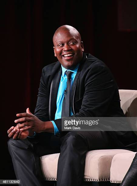 Titus Burgess speaks about the The Unbreakable Kimmy Schmidt during the Netflix TCA Press Tour at Langham Hotel on January 7 2015 in Pasadena...