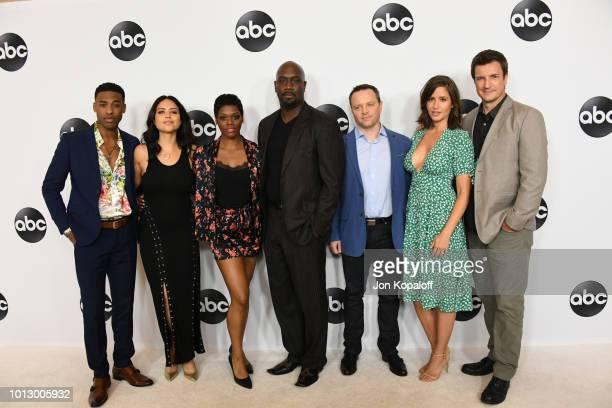 Titus Makin Jr Alyssa Diaz Afton Williamson Richard Jones Alexi Hawley Mercedes Mason and Nathan Fillion attend the Disney ABC Television TCA Summer...
