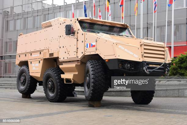 titus wheeled armored vehicle on the exhibition - armored vehicle stock pictures, royalty-free photos & images