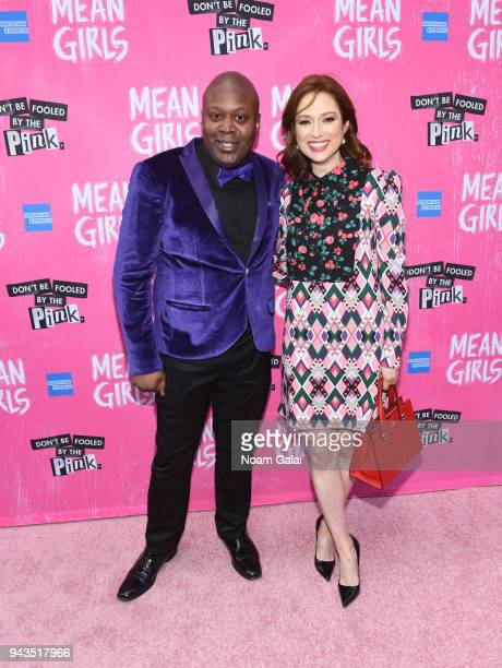 """Tituss Burgess and Ellie Kemper attend the opening night of """"Mean Girls"""" on Broadway at August Wilson Theatre on April 8, 2018 in New York City."""