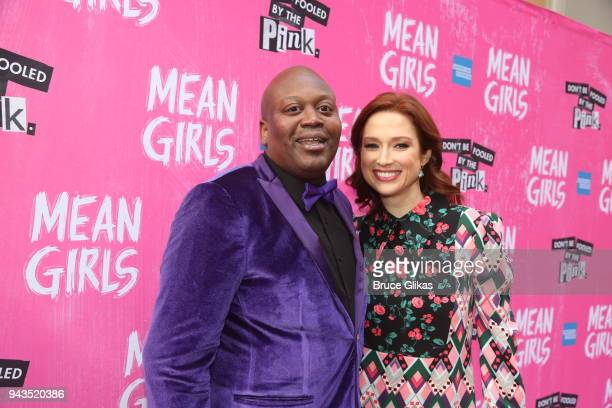 """Tituss Burgess and Ellie Kemper pose at the arrivals for the openng night of the new musical based on the cult film """"Mean Girls"""" on Broadway at The..."""