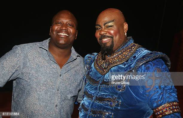 Tituss Burgess and James Monroe Iglehart as 'Genie' pose backstage at the hit musical 'Disney's Aladdin' on Broadway at The New Amsterdam Theatre on...