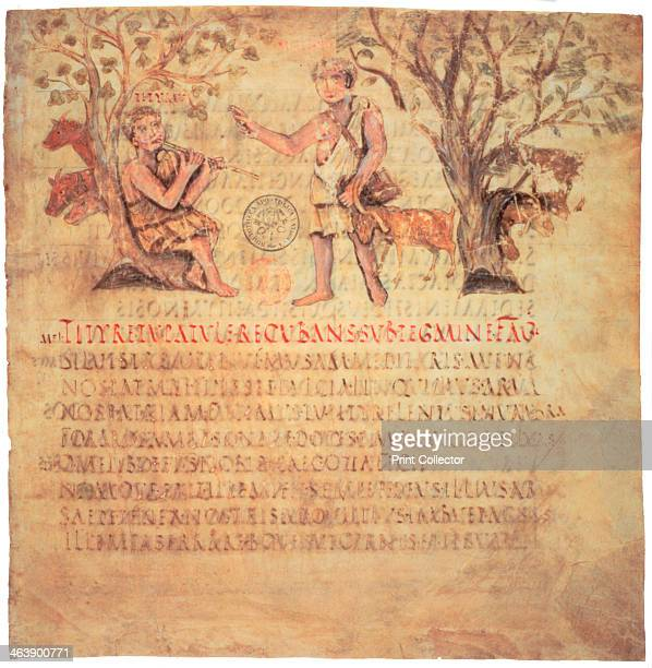Tityrus playing the pipes 5th century Illustration from Vergil's Bucolics in the Codex Vergilius Romanus collection of the Biblioteca Apostolica...