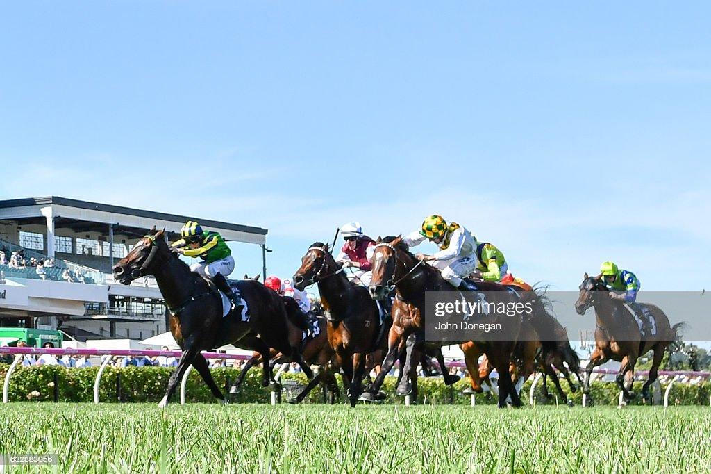 Tivaci ridden by Patrick Moloney wins the Kensington Stakes at Flemington Racecourse on January 28, 2017 in Flemington, Australia.
