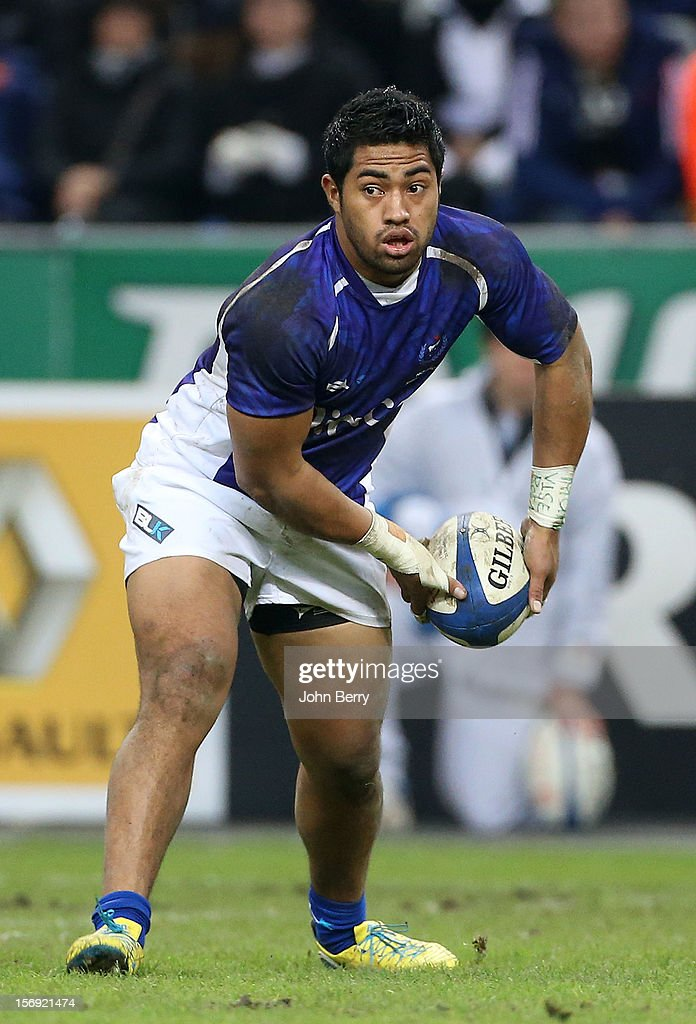 Tivaini Fomai of Samoa in action during the Rugby Autumn International between France and Samoa at the Stade de France on November 24, 2012 in Paris, France.